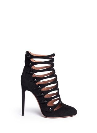 Main View - Click To Enlarge - Alaïa - Lasercut caged suede booties