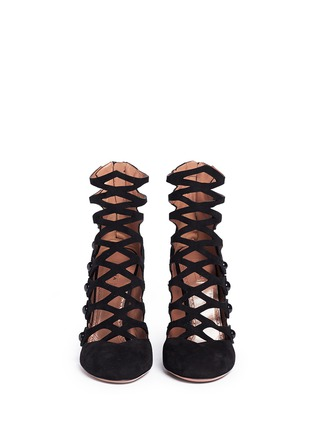 Figure View - Click To Enlarge - Alaïa - Lasercut caged suede booties