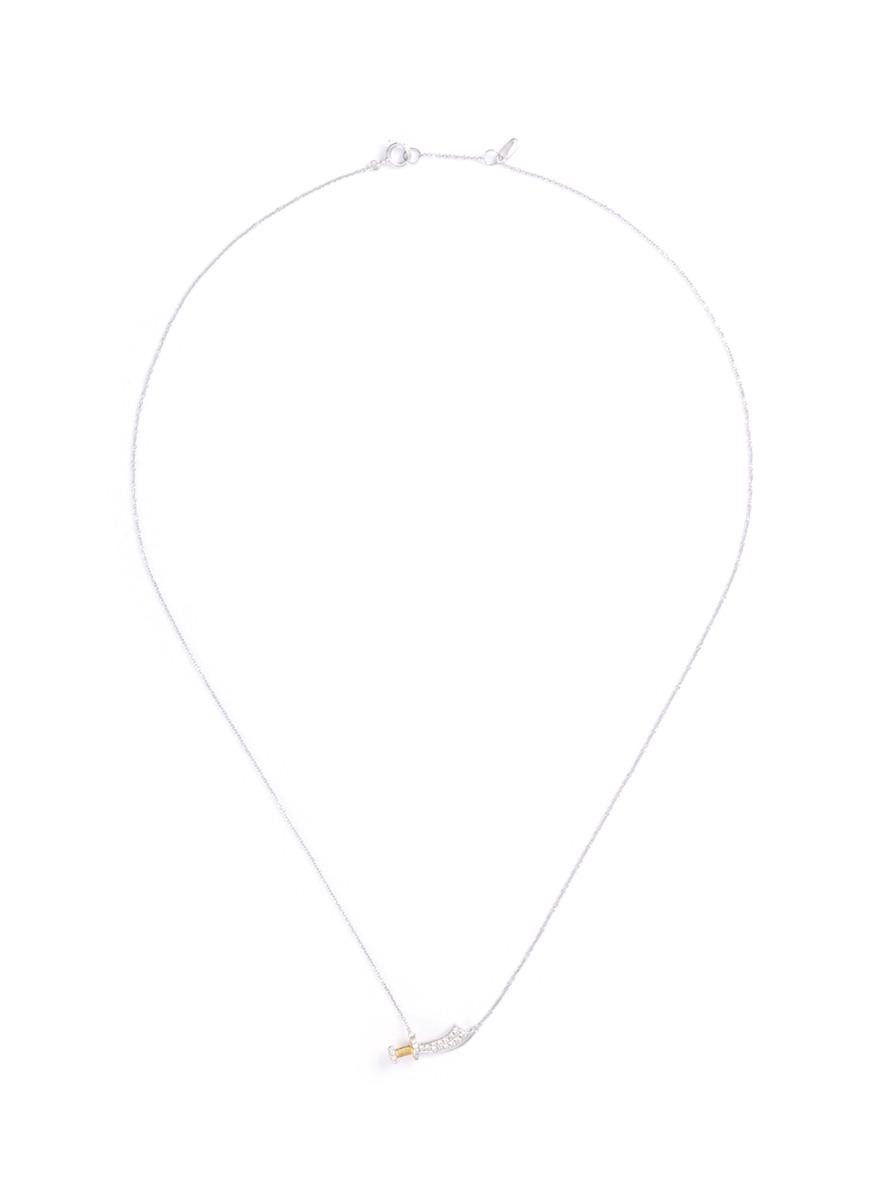 Sword pendant diamond pavé 18k gold necklace by Bao Bao Wan