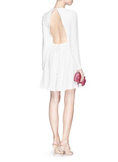 VICTORIA, VICTORIA BECKHAM Drawstring open back textured cady dress