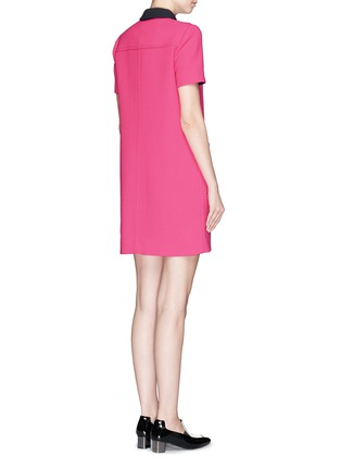 Back View - Click To Enlarge - VICTORIA, VICTORIA BECKHAM - Contrast trim wool crepe shirt dress