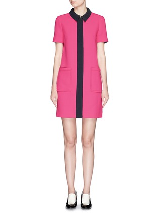 Main View - Click To Enlarge - VICTORIA, VICTORIA BECKHAM - Contrast trim wool crepe shirt dress
