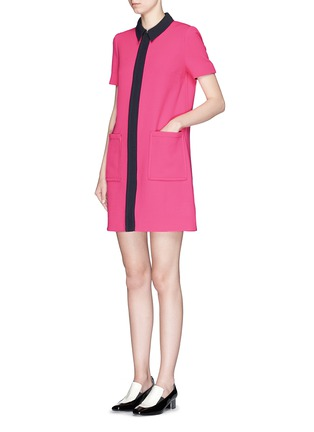 Figure View - Click To Enlarge - VICTORIA, VICTORIA BECKHAM - Contrast trim wool crepe shirt dress