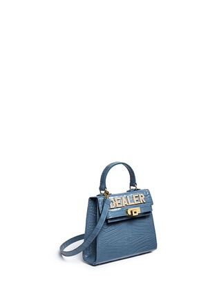 Figure View - Click To Enlarge - MAWI BAGS - 'Dealer' Swarovski crystal slogan leather satchel