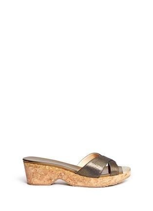 Main View - Click To Enlarge - Jimmy Choo - 'Panna' cork wedge Lurex denim sandals