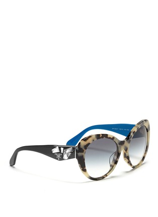 Figure View - Click To Enlarge - Prada - Jewel temple tortoiseshell acetate sunglasses