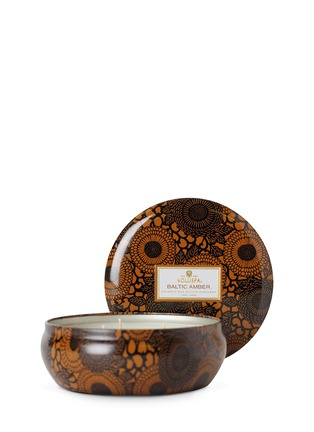 - VOLUSPA - JAPONICA - 3-WICK CANDLE IN DECORATIVE TIN - BALTIC AMBER