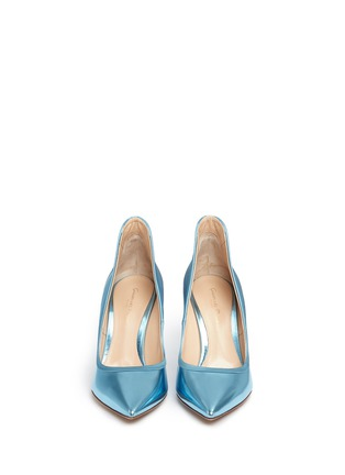 Figure View - Click To Enlarge - Gianvito Rossi - Satin trim metallic leather pumps