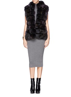 HOCKLEY 'Raven' fox fur suede trim gilet