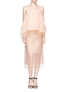 ELLERY 'Daisy' apron sheer embroidery skirt