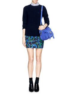 KENZO Abstract floral puzzle print denim skirt