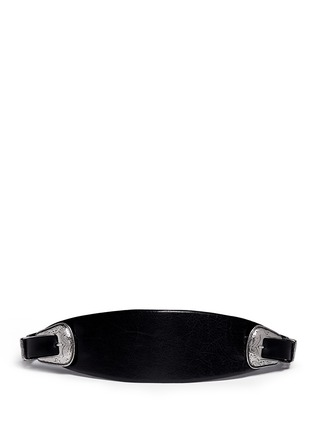 TOGA ARCHIVES - Tribal embroidery double buckle leather belt