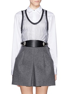 TOGA ARCHIVESTribal embroidery double buckle leather belt