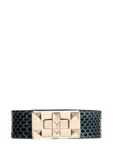 VALENTINO'Rockstud' twist lock snake skin bracelet