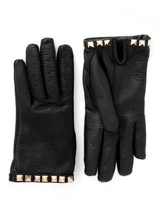 Main View - Click To Enlarge - Valentino - 'Rockstud' short pebble leather gloves