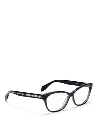 Figure View - Click To Enlarge - Alexander McQueen - Skull stud square cat eye optical glasses
