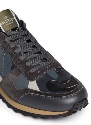 Valentino - Camouflage suede trim sneakers