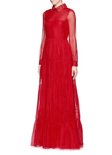 VALENTINO Detachable floral leather collar silk chiffon dress