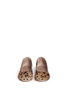 CHLOÉ Scalloped edge leopard print pony hair flats