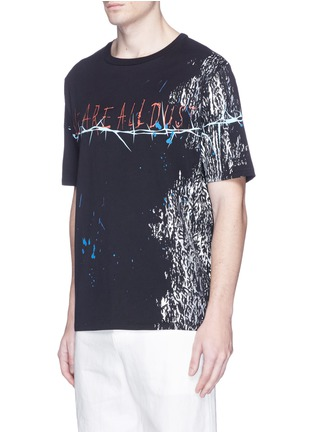 Front View - Click To Enlarge - Haider Ackermann - Slogan foil print T-shirt