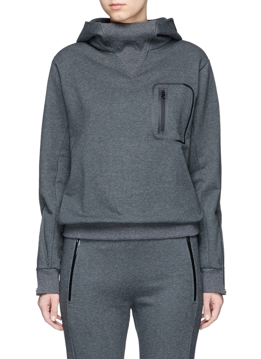 Reflective logo zip pocket French terry hoodie by Particle Fever