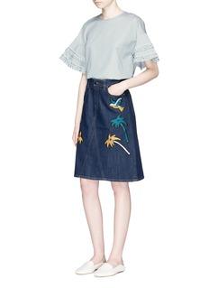 VICTORIA, VICTORIA BECKHAM'Okinawa' motif embroidered cross front denim skirt