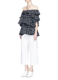 Tome Check plaid off-shoulder top