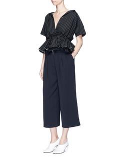 TomeDrawstring ruffle waist pinstripe shirt