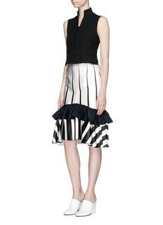 TomeTwill ruffle stripe print satin skirt