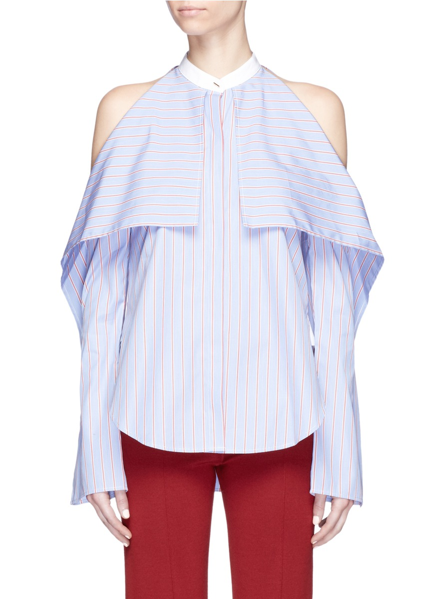 Stripe foldover front cold shoulder shirt by Rosetta Getty