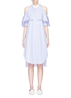 Rosetta GettyStripe foldover cold shoulder shirt dress