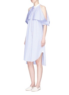 Rosetta Getty Stripe foldover cold shoulder shirt dress