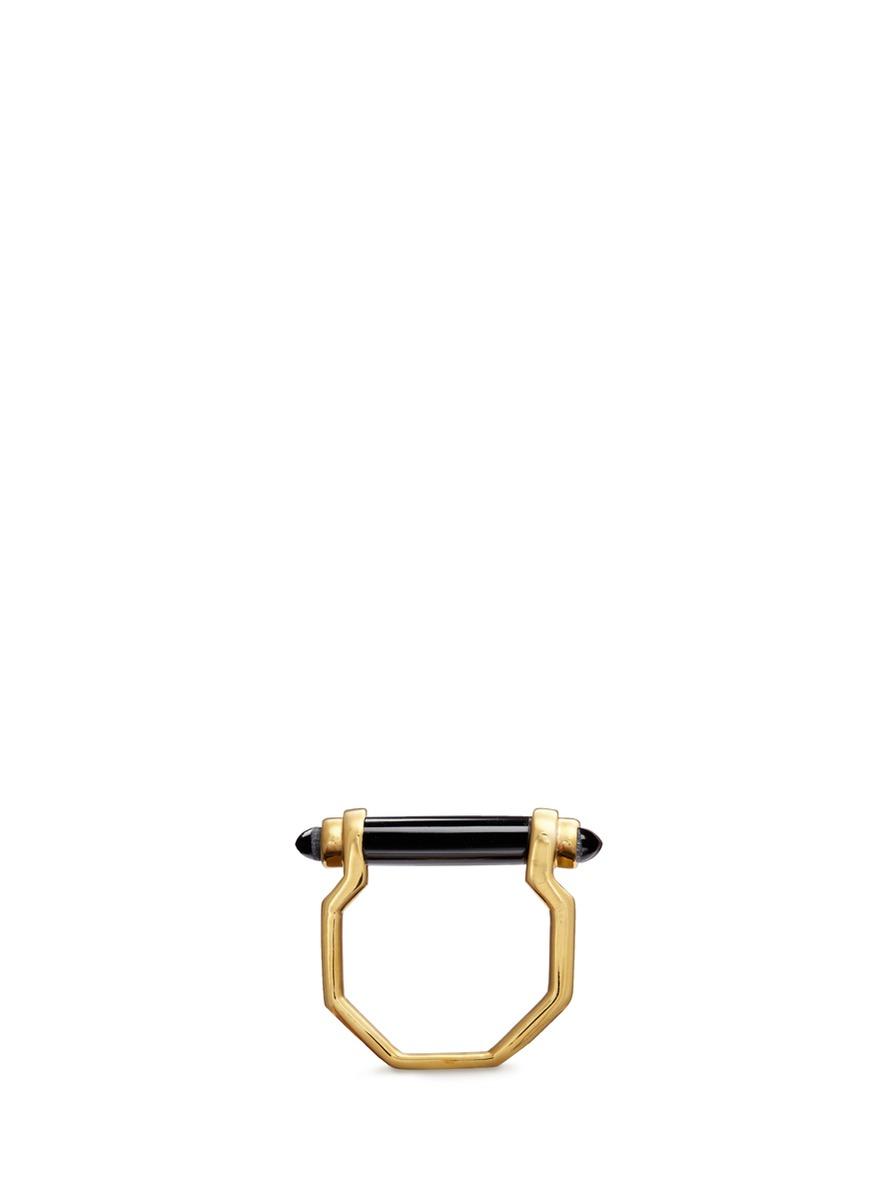 Bar inset onyx 18k gold ring by W.Britt