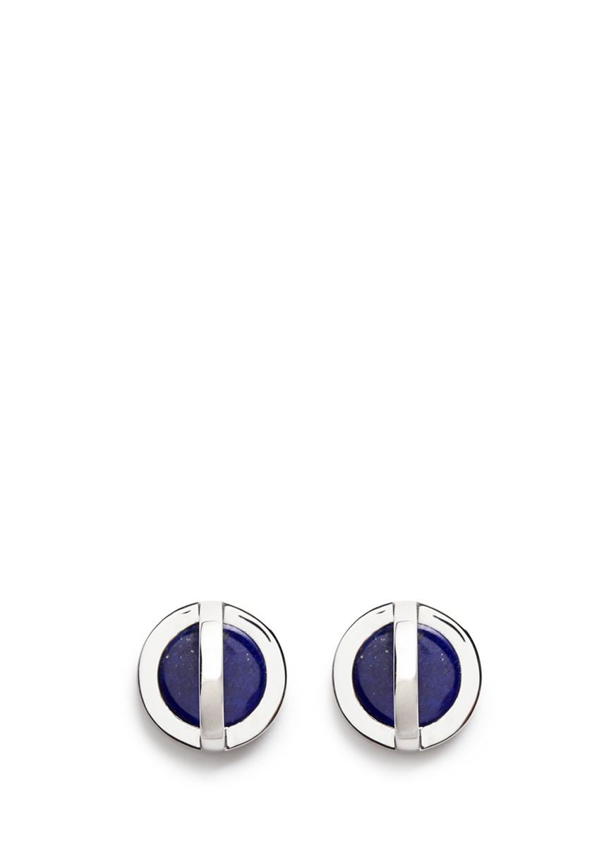 Cross Circle inset lapis earrings by W.Britt