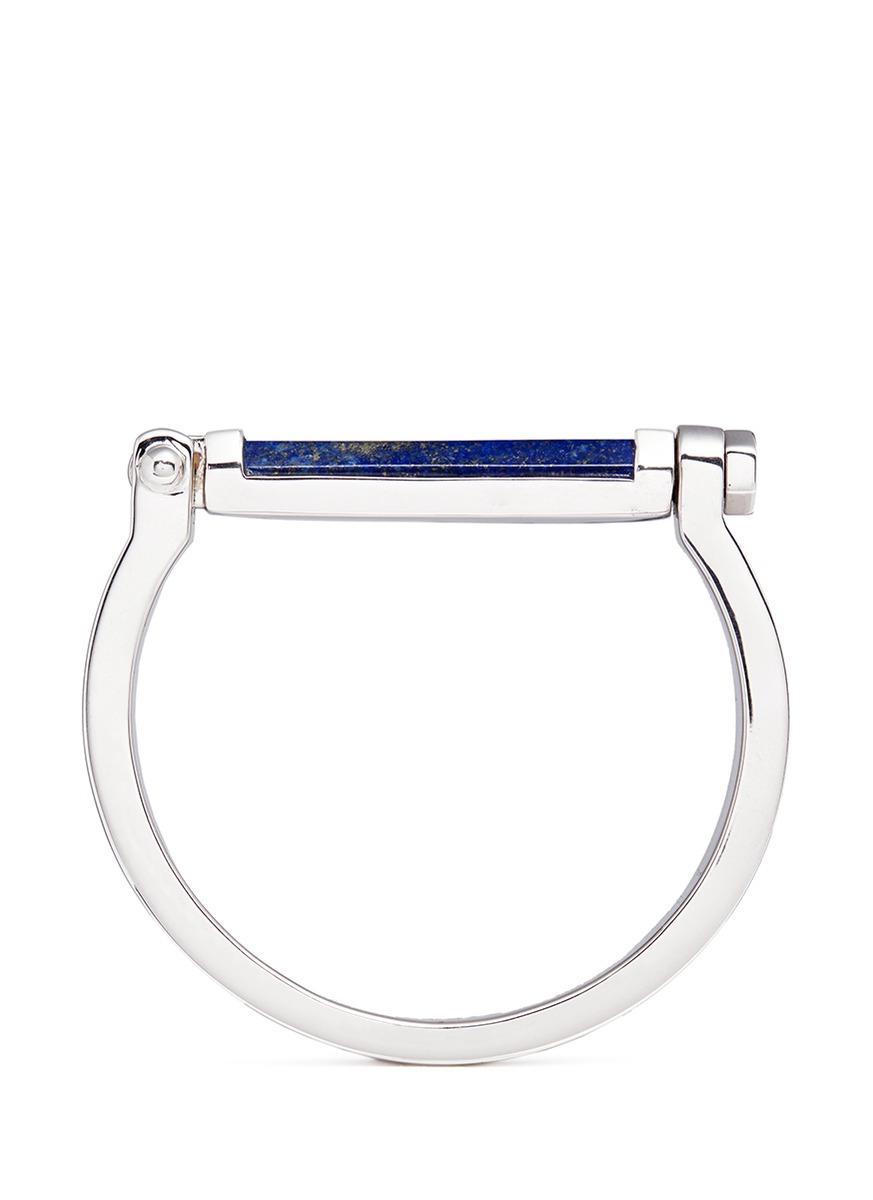 Round Bar inset lapis lazuli bangle by W.Britt