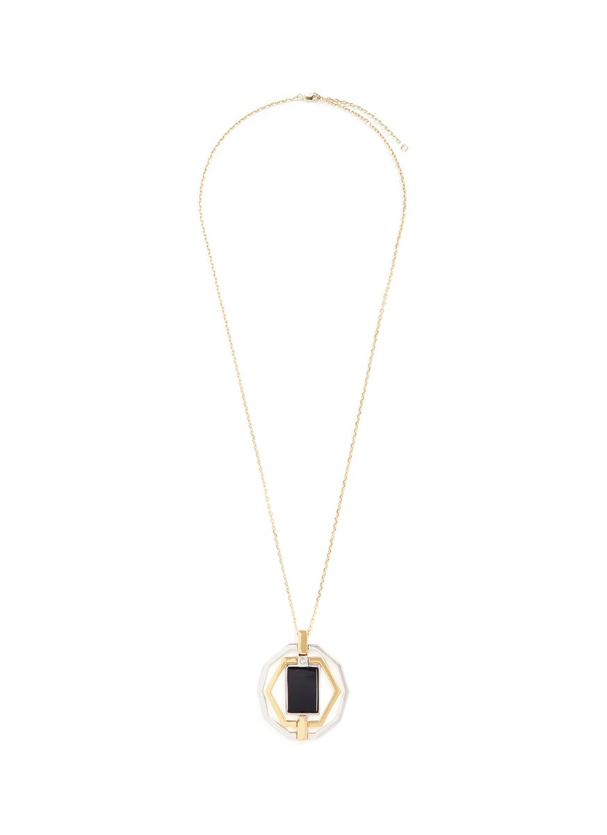 Decagon Hex convertible inset onyx 18k gold plated necklace by W.Britt