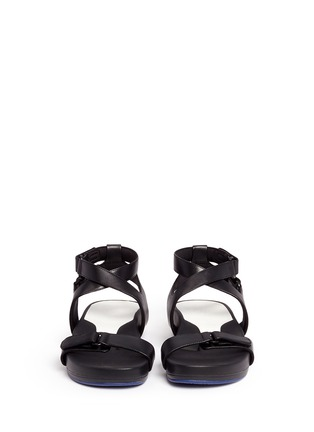 Front View - Click To Enlarge - Figs By Figueroa - 'Figophile' leather strap hinged sandals
