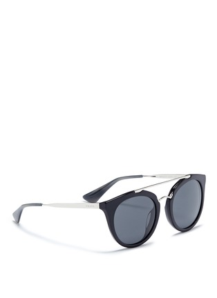 Figure View - Click To Enlarge - Prada - Tortoiseshell effect acetate cat eye sunglasses