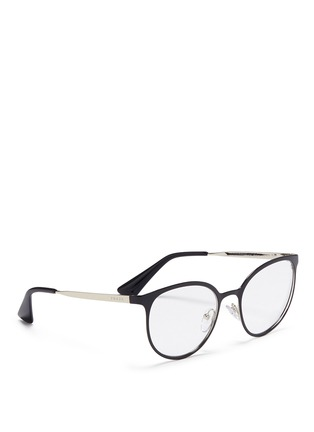 Figure View - Click To Enlarge - Prada - Coated front metal round optical glasses