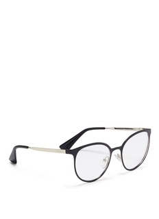 PRADA Coated front metal round optical glasses