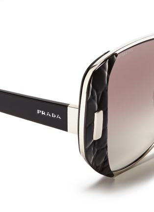 Detail View - Click To Enlarge - Prada - Croc embossed acetate rim metal sunglasses
