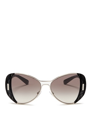 Prada-Croc embossed acetate rim metal sunglasses