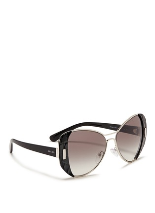 Figure View - Click To Enlarge - Prada - Croc embossed acetate rim metal sunglasses