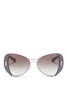 PradaCroc embossed acetate rim metal sunglasses