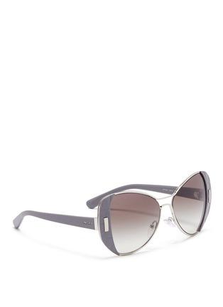 Figure View - Click To Enlarge - Prada - Croc embossed acetate rim metal sunglasses