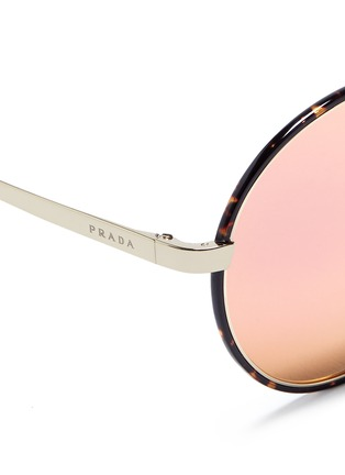 Detail View - Click To Enlarge - Prada - Tortoiseshell acetate rim round mirror sunglasses