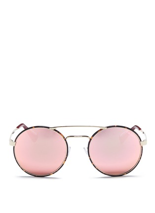 Main View - Click To Enlarge - Prada - Tortoiseshell acetate rim round mirror sunglasses