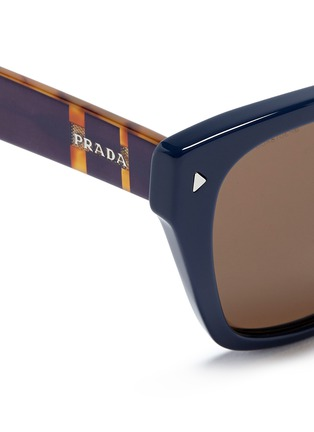 Detail View - Click To Enlarge - Prada - Stripe tortoiseshell temple acetate sunglasses