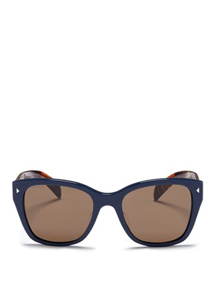 Main View - Click To Enlarge - Prada - Stripe tortoiseshell temple acetate sunglasses