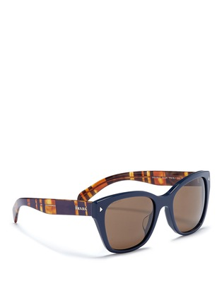Figure View - Click To Enlarge - Prada - Stripe tortoiseshell temple acetate sunglasses